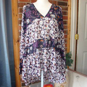 Free People Isabelle Tunic Floral Top L